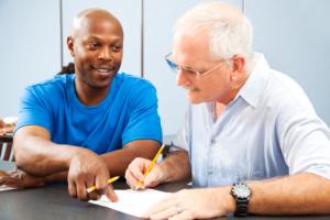 senior man with a caregiver